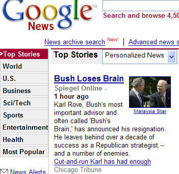 bush loses brain